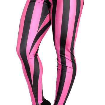 BadAssLeggings Women's Pink And Black Stripes Leggings Medium