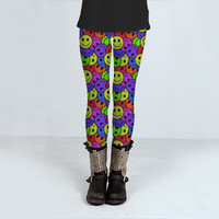 Smiley Faces Retro Hippie Pattern by Hippy Gift Shop (Leggings)