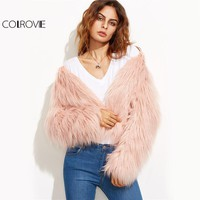 COLROVIE Faux Fur Pink Winter Coat Women Elegant Collarless Long Sleeve Cute Warm Coats 2017 Fashion Autumn Open Front Crop Coat