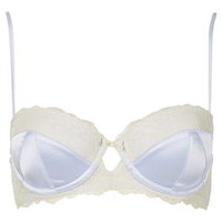 Satin-Look Balcony Bra - Pale Blue