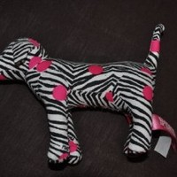 "Victoria's Secret 7"" Plush Zebra Dog with Pink Spots"