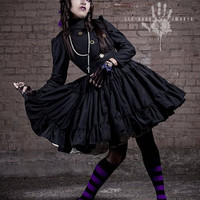 Steampunk  Lolita Gothic Black Military Dress with Full Ruffled Skirt & Gears Custom Size