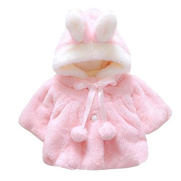 Winter Coat Clothes for Baby Girls Rabbit Soft Fleece Cloak Hooded Coat for Girls Baby Princess Clothing Tops