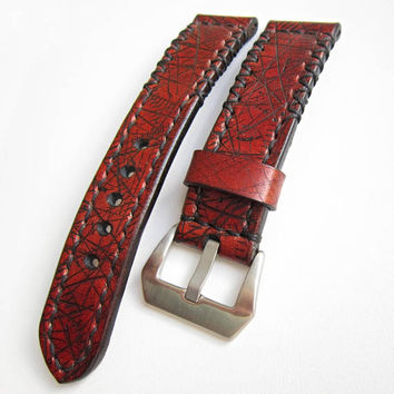 Leather Watch Strap, Brown Watch Strap, Natural Leather, 24mm, Distressed Brown Leather