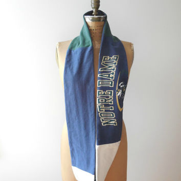 Notre Dame Scarf Tshirt Infinity Scarf Womens scarves Navy Blue Green Tan Upcycled Spring Handmade Cotton Fashion Soft Gift for Her ohzie