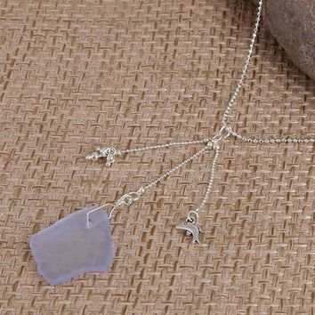 Blue Sea Glass With Dolphin Charm Necklace