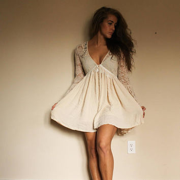 Upcycled Free People Sundress Boho Bell Sleeve Lace Summer Bohemian Cream Dress