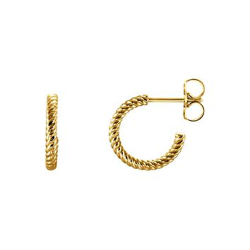 Rope Hoop Earrings in 14k Yellow Gold, 12mm (7/16 Inch)