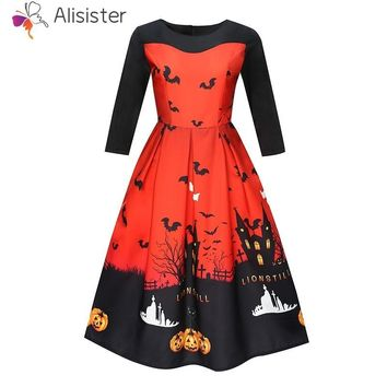 Girl Women Halloween Pumpkin Skull Print Dress Party Elegant Swing Midi Dress Vintage Vestidos Festival Clothing S-2XL