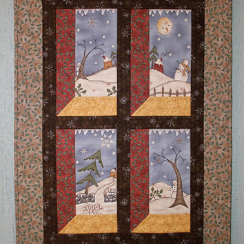 Quilted Wall Hanging - Winter Christmas Snowman Wall Hanging