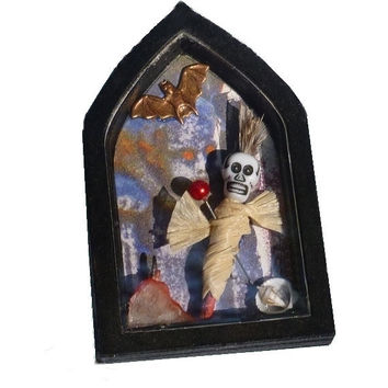 Miniature Shrine, Voodoo Spirit, OOAK Gothic Dark Art, Folk Art Mixed Media Assemblage