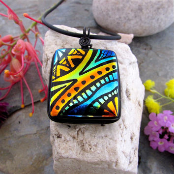 DICHROIC PENDANT Stunning Freehand Etched OOAK Fused Glass Art Necklace Wire Wrapped