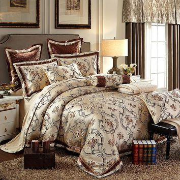 Cool Cotton Stain Jacquard Luxury Wedding Bedding set 4/6Pcs Kits King Queen size Duvet cover Thick Cotton Bedspread set Pillow shamsAT_93_12