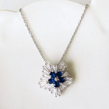 Winter Wonderland Snowflake Bridal Crystal Necklace with Blue Zircon MYRTLE