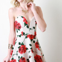 Women's Sweetheart Rose Print Skater Dress - Size M