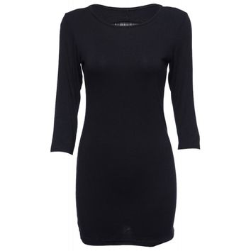 Simple Round Collar Long Sleeve Fringed Backless Bodycon Mini Dress for Women