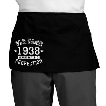 80th Birthday Vintage Birth Year 1938 Dark Adult Mini Waist Apron by