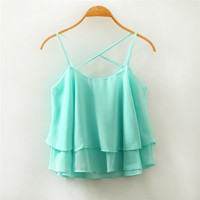 2016 Summer Style Sexy Women Blusas Sleeveless Halter Blouses Casual Vest Loose Chiffon Blouse V Neck Tank Tops Plus Size