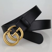 """Gucci"" Unisex Fashion Simple All-match Retro Double G Letter Metal Needle Buckle Cowhide Genuine Leather Belt Waistband"