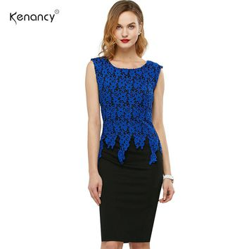 S-5XL Trending Women Lace Floral  Pencil Dress Summer Autumn Crochet Charming Pinup Casual Work Office Sheath Dress Vestidos