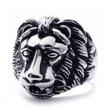 Men's Jewelry 316L Titanium Steel Lion King Ring-SIZE 11