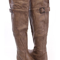 Khaki Buckle Accent Knee High Boots Faux