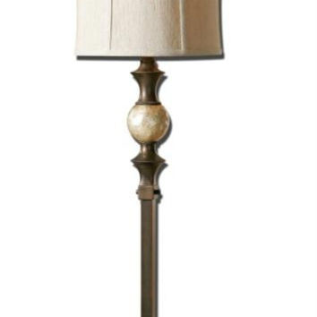 Buffet Table Lamp - Dark Bronze Body With Stained Capiz Shell Ball Accent