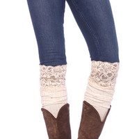 Ivory Knit Slouch Socks with Lace Top