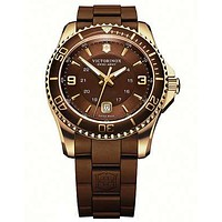 Victorinox Swiss Army Maverick GS Mens Strap Watch - Brown Dial - Gold-Tone Case