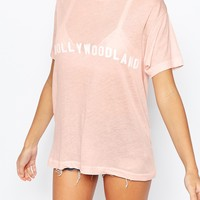 Wildfox Vintage Look T-Shirt With Hollywoodland Print