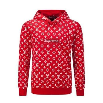 VONERE1 LV Supreme Fashion Embroidered Tea Red Hooded Sweater Red