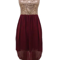 Wine Asymmetric Dress with Sequin Top&Cutout Back Detail