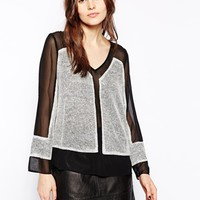 Aryn K Sweater with Contrast Sheer Detail - Gray