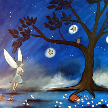 Original Fairy Painting Storybook Art Whimsical Fairytale Artwork for kids Woodland Nursery Decor