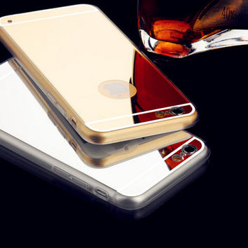 Soft TPU Phone case for iphone 6 4.7 inch electroplating mirror cover luxury back case