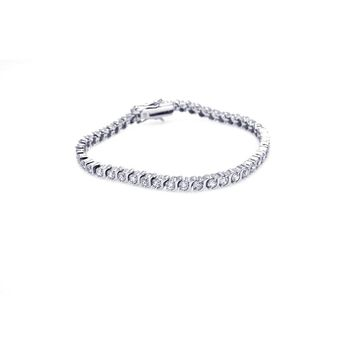 .925 Sterling Silver Rhodium Plated Clear Cubic Zirconia Tennis Bracelet