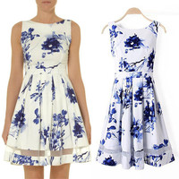 Floral Sleeveless A-Line Mini Skater Dress with Mesh Accent