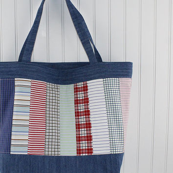 Recycled Denim Large Tote Bag with Recycled Men's Shirts, Farmers Market Bag, Denim Tote Bag, MK117