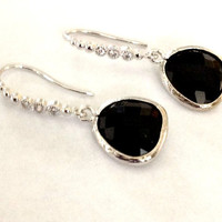 Valentines day Jewelry Dangle earrings black and silver Gift for her jewelry under 50 Rhodium earrings with black drop glass