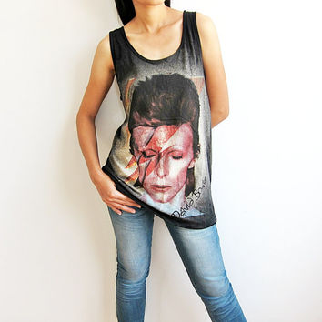 David Bowie Shirt Ziggy Stardust Black Tank Top Women T Shirts Size M