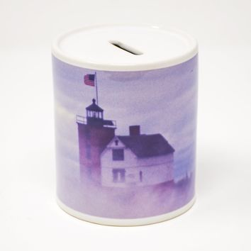 Round Island Lighthouse in Fog Coin Bank, Ceramic