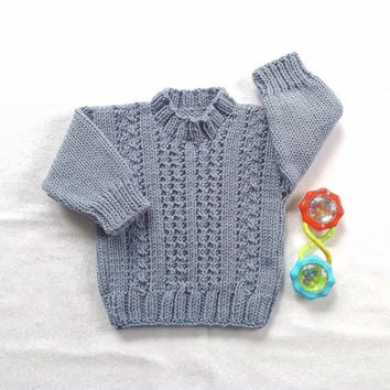 Knit baby sweater - 6 to 12 months - Knitted baby jumper - Baby clothing - Infant sweater - Baby knits