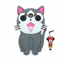 Disney 3D Cartoon Cat Soft Silicone Cover Case for Samsung Galaxy S3 i9300 -Gray