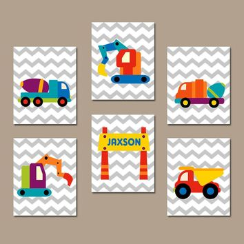 CONSTRUCTION Wall Art, Big Boy Bedroom, CANVAS or Prints, Truck Wall Decor, Baby Boy Nursery Decor, Dump Truck, Tractor, Boy Name, Set of 6