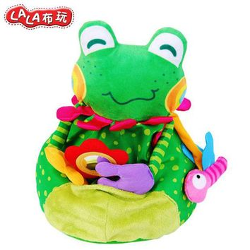 DCCKFS2 Free shipping lalababy early educational baby pacify cute frog catch handbell senses cognitive bb bell baby rattle plush toy 1pc