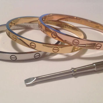 Designer Inspired Screw Bracelet with by LaCoquetteBoutique