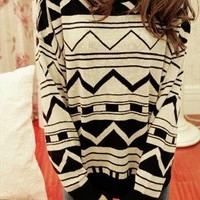 White & Black Aztec Sweater from tulitajean