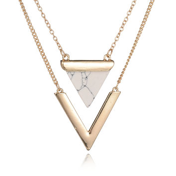 Women Gold Color Punk Necklaces From India Hot Geometric Triangle Faux Marble Stone Pendant Necklace Vintage Jewelry