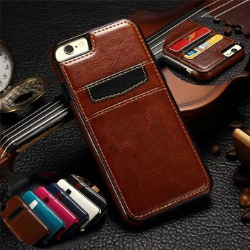 Ultra Thin Luxury Leather Card Holder Slots Back Case Cover Skin For iPhone 6 6s/6 Plus/6s Plus/Samsung Galaxy S6/S6 edge/S6 edg
