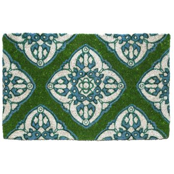 Green and Teal Moroccan Stencil Boho Coir Doormat